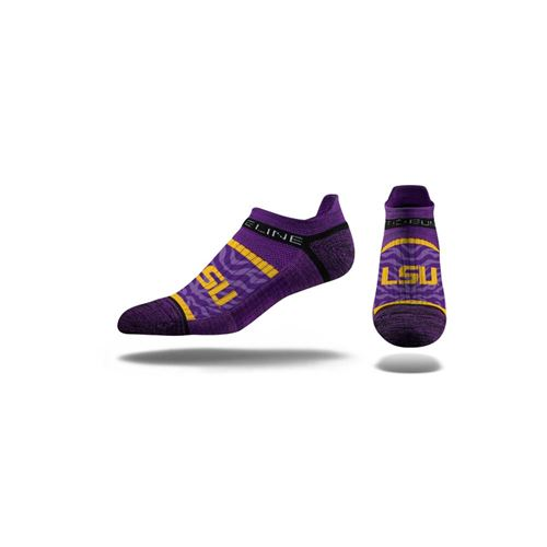 Picture of LSU Sock Purple Stripes No Show Premium Reg