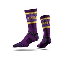 Picture of LSU Sock Purple Stripes Crew Premium Reg