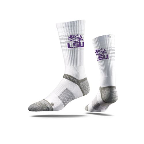 Picture of LSU Sock Tiger White Crew Premium Reg