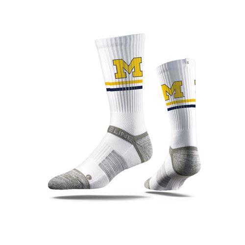 Picture of Michigan Sock Wolverine White Crew Premium Reg