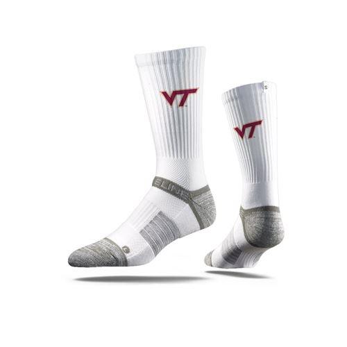 Picture of Virginia Tech Sock Hokie White Crew Premium Reg