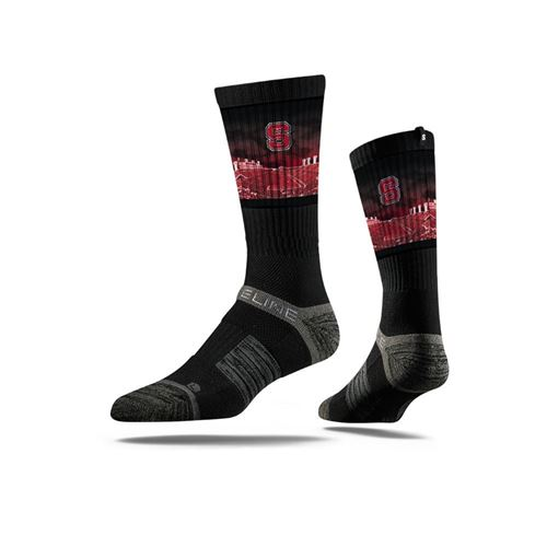 Picture of NC State Sock Wolf Pack Black Stadium View Crew Premium Reg
