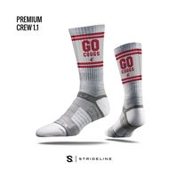 Picture of WSU Sock Cougar Grey Crew Premium Reg