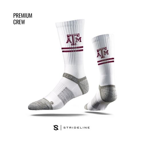 Picture of Texas A & M Sock Gig 'Em White Crew Premium Reg