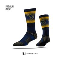 Picture of West Virginia Sock Mountaineer Blue Fade Crew Premium Reg
